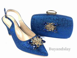Royal blue traditional wedding shoe and bag