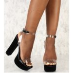 Black heels with clear strap