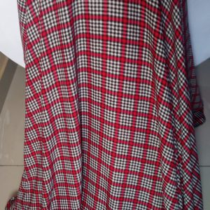 White and red check fabric