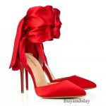 Red Lace Up Pumps-Pointed Toe