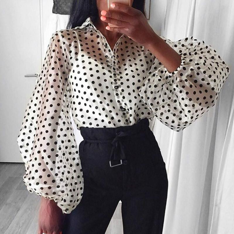 White oversized organza Polka dot ballon sleeve blouse