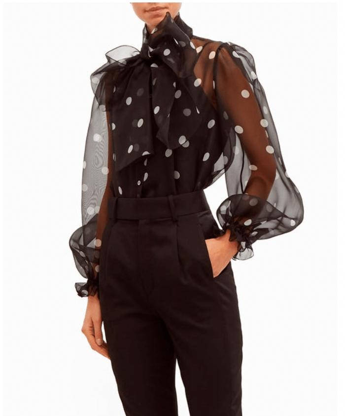 Black polka dot organza blouse