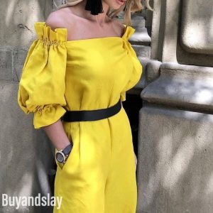 Mustard yellow jumpsuit wide leg