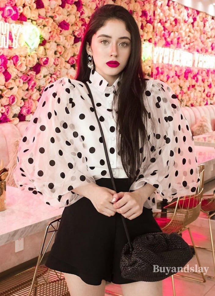 Organza Polka dot ballon sleeve blouse