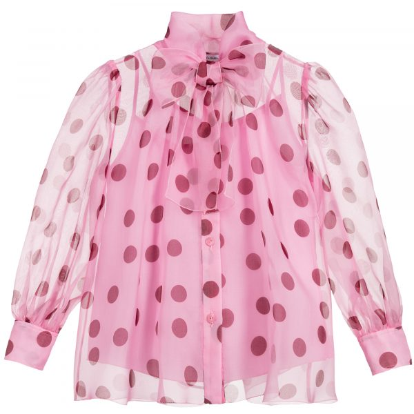 Pink-Polka-Dot-Organza-top