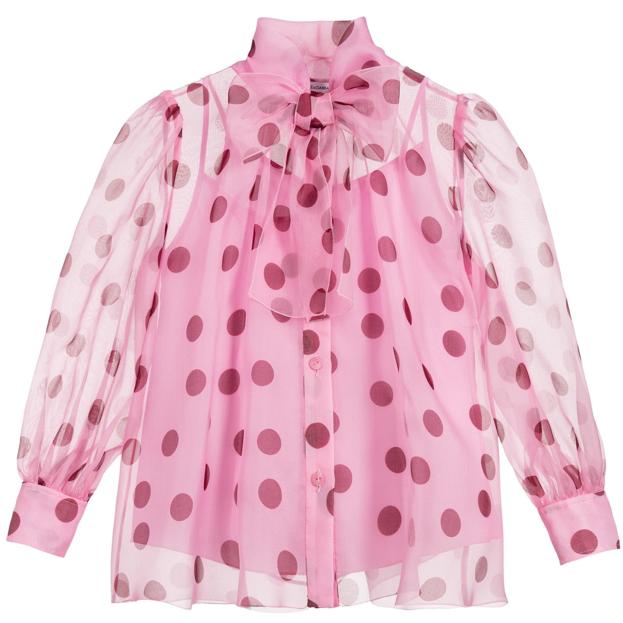 Pink-Polka-Dot-Organza-top