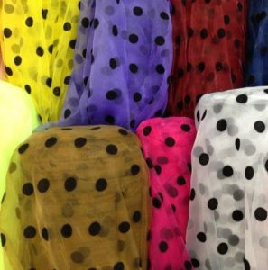 Polka dot organza fabric
