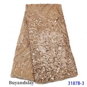 Champagne sequins lace for sale