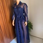 Navy Blue Button Down Maxi Net Dress for Women