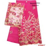 High quality Embroidered Indian Raw Silk George Wrapper with Net Blouse